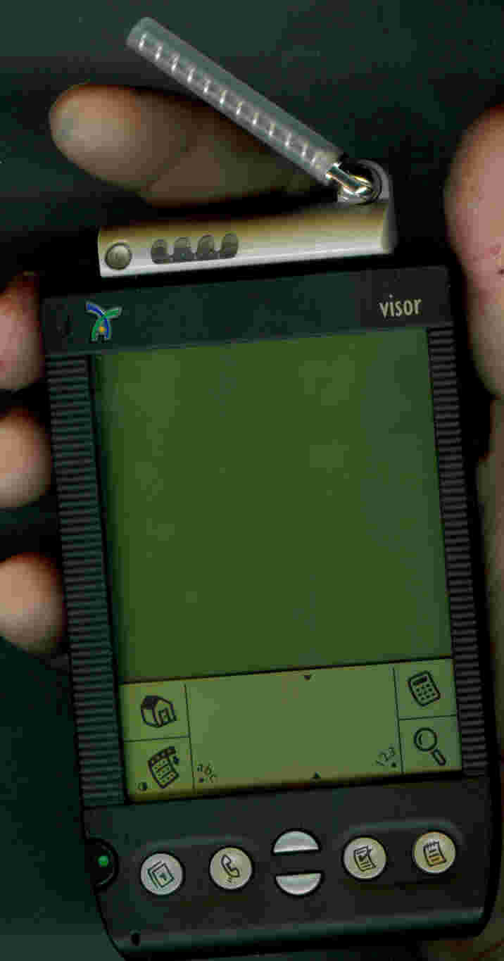 wipclip installed in handspring visor